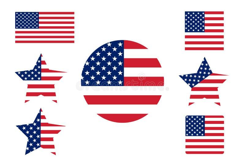 flagga USA förenade Amerika flaggatillstånd Amerikanska flaggan fo royaltyfri illustrationer