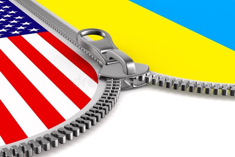 Flagga USA och Ukraina och blixtlås illustration 3d royaltyfri illustrationer
