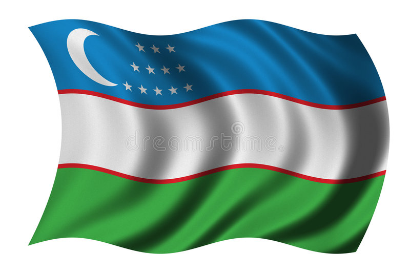 flagga uzbekistan royaltyfri illustrationer