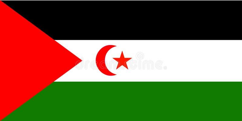 flagga västra sahara royaltyfri illustrationer