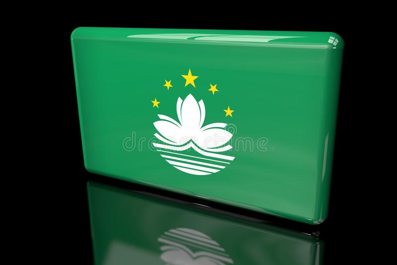 Flagga volymetriska Macao 3D royaltyfri illustrationer