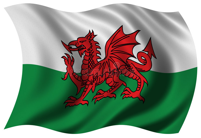 flagga wales royaltyfri illustrationer