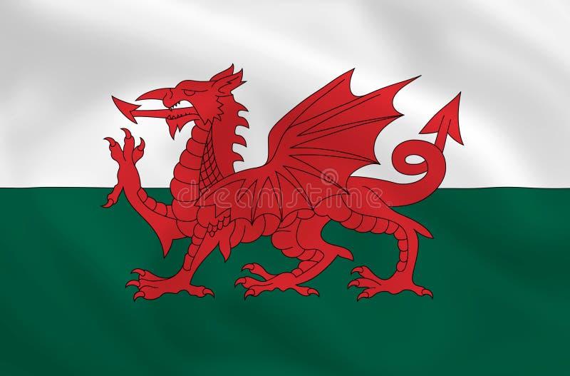flagga wales royaltyfri illustrationer