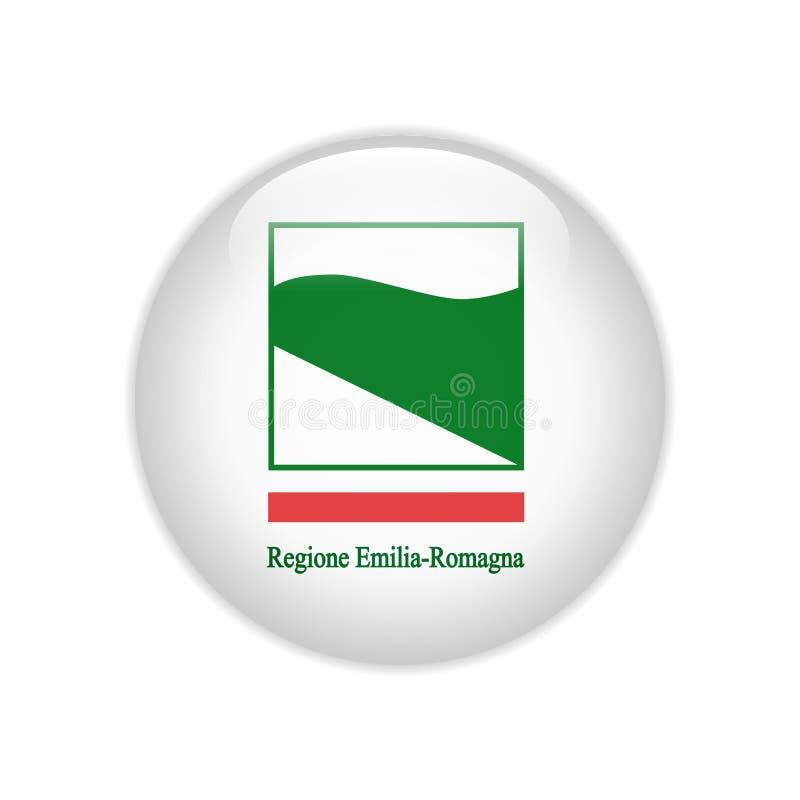 FlaggaEmilia-Romagna knapp royaltyfri illustrationer