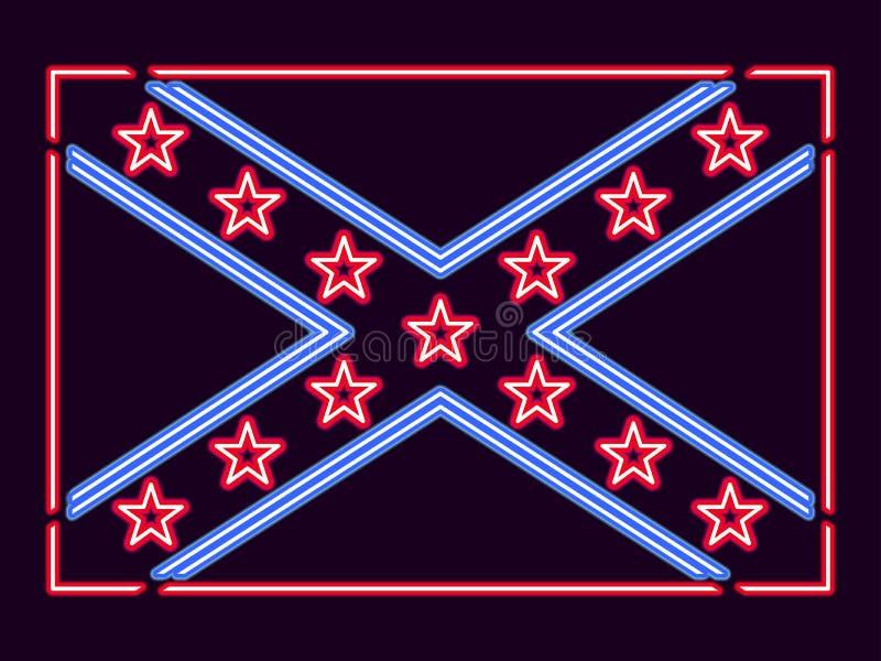 Flaggaförbundsmedlemtillstånd av det Amerika neontecknet vektor stock illustrationer