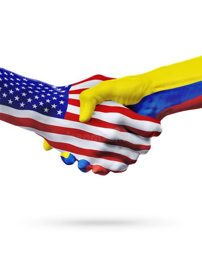 FlaggaFörenta staterna- och Colombia länder, partnerskaphandskakning royaltyfri fotografi