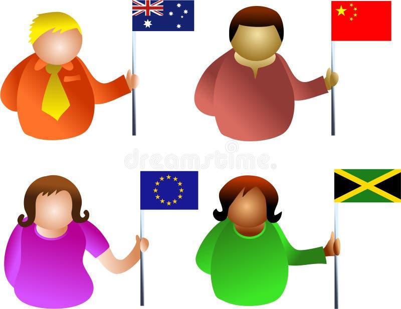 flaggafolk vektor illustrationer