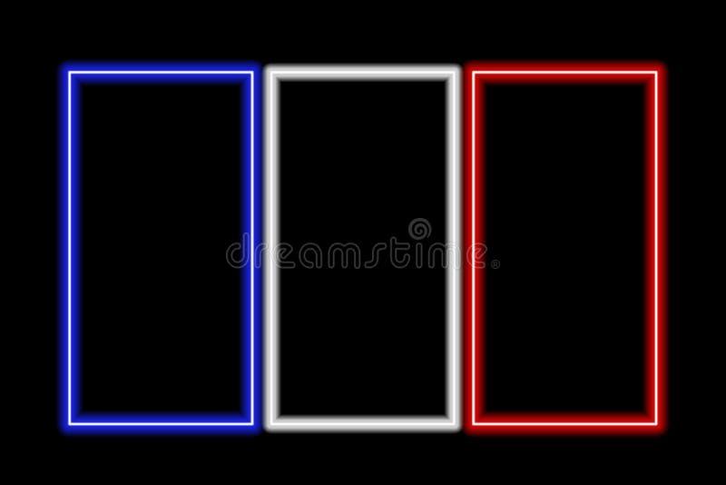 flaggafrance neon vektor illustrationer