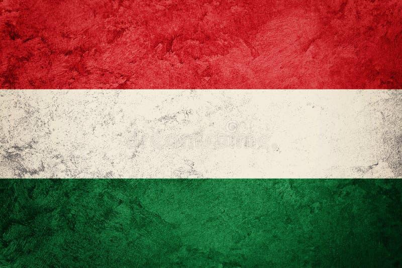 flaggagrunge hungary Ungersk flagga med grungetextur royaltyfri bild