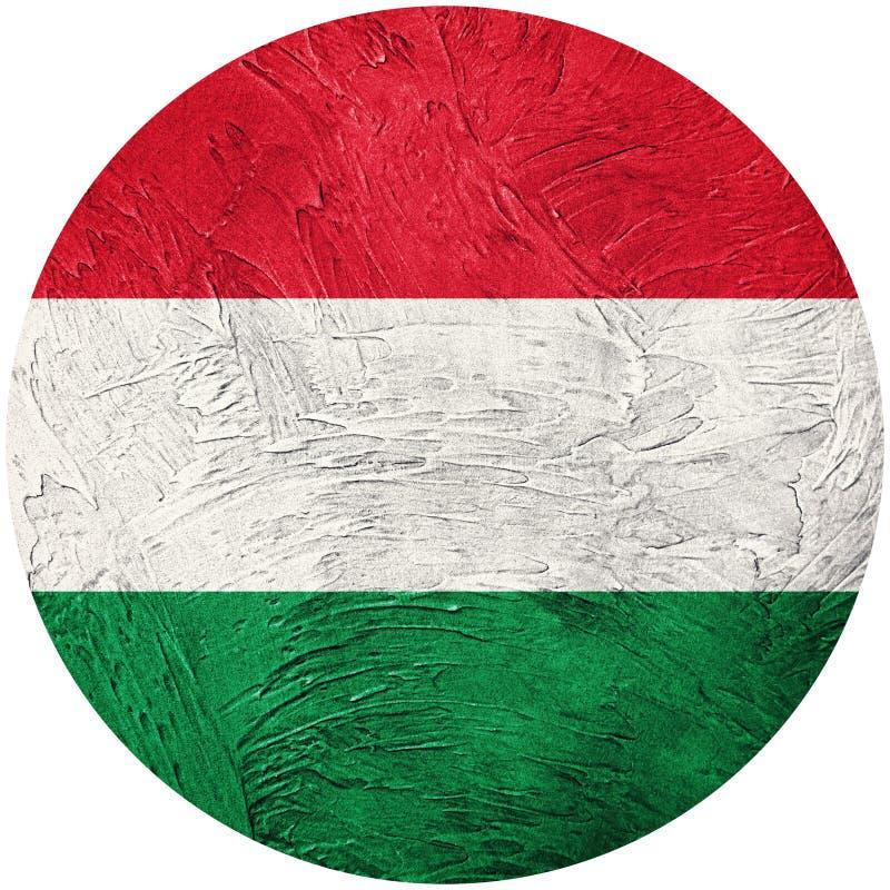 flaggagrunge hungary Ungersk knappflagga som isoleras på vitbac royaltyfri illustrationer