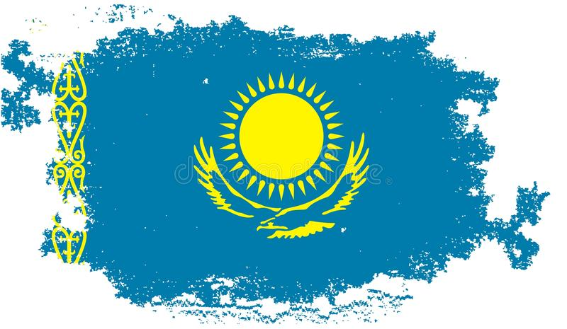 flaggagrunge kazakhstan stock illustrationer