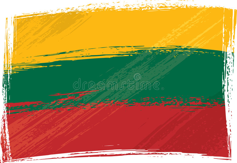 flaggagrunge lithuania royaltyfri illustrationer