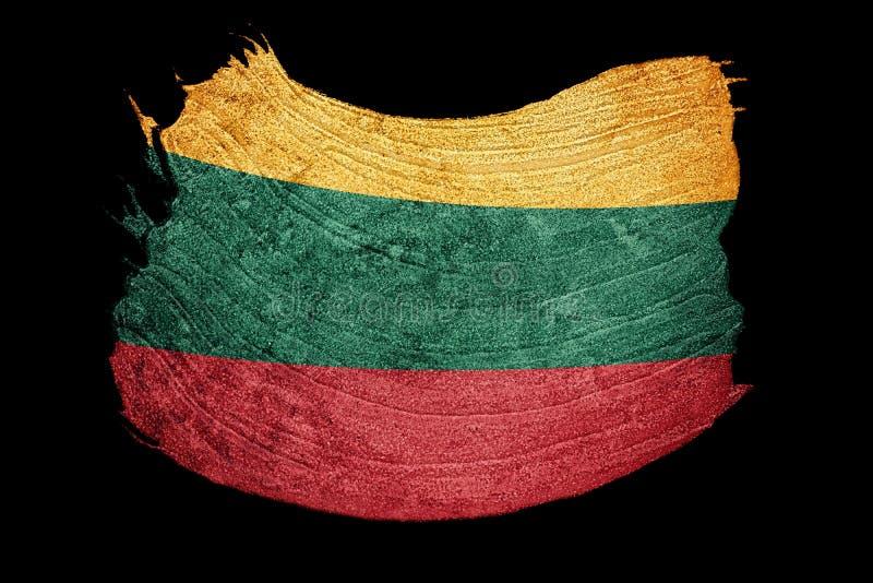 flaggagrunge lithuania Litauisk flagga med grungetextur Brus royaltyfri illustrationer