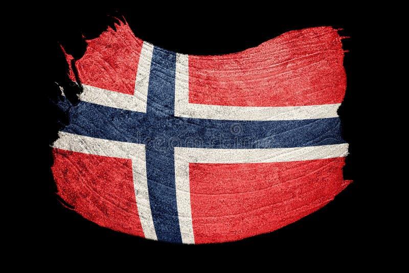 flaggagrunge norway Norge flagga med grungetextur Borstestrok stock illustrationer