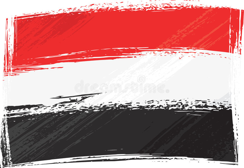 flaggagrunge yemen vektor illustrationer
