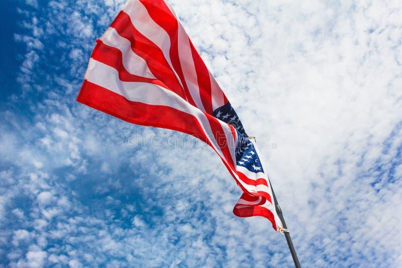 Flaggahimmelpatriotism amerikanska USA, banersjälvständighet fotografering för bildbyråer