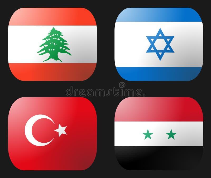 flaggaisrael lebanon syria kalkon stock illustrationer