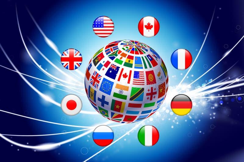 Flaggajordklot på abstrakt modern ljus bakgrund royaltyfri illustrationer