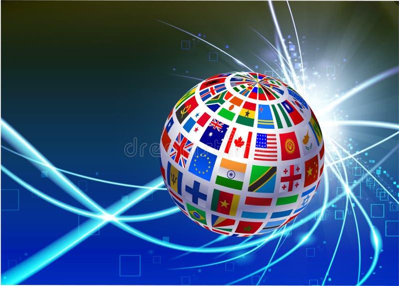 Flaggajordklot på abstrakt modern ljus bakgrund vektor illustrationer