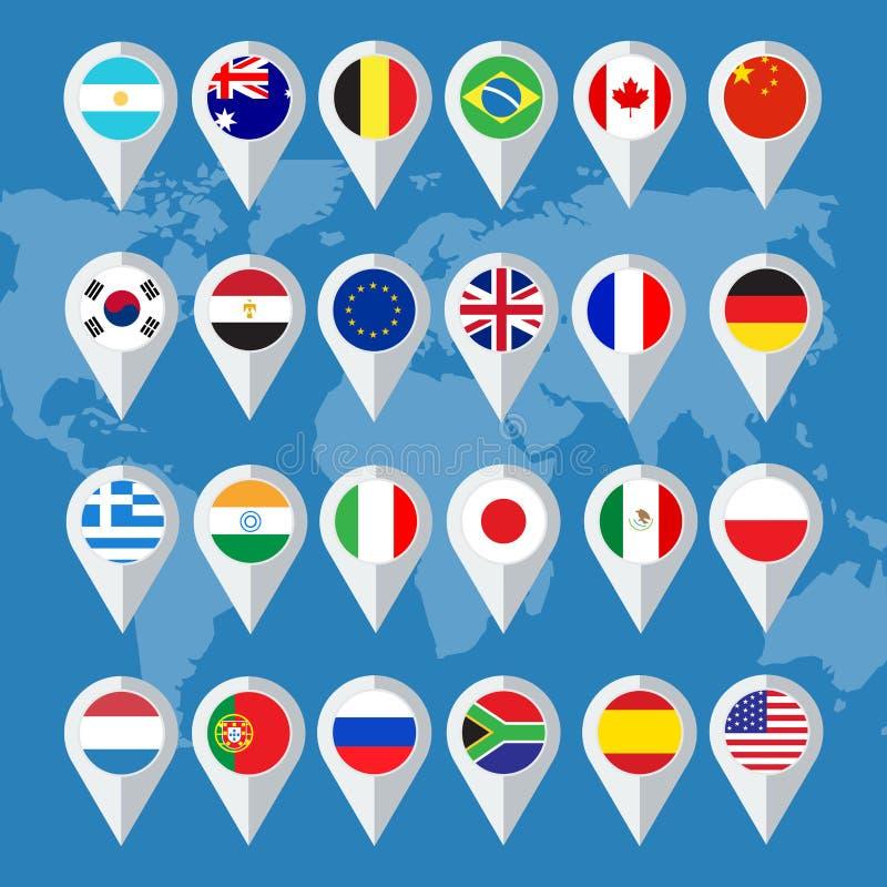 Flaggaknappar stock illustrationer