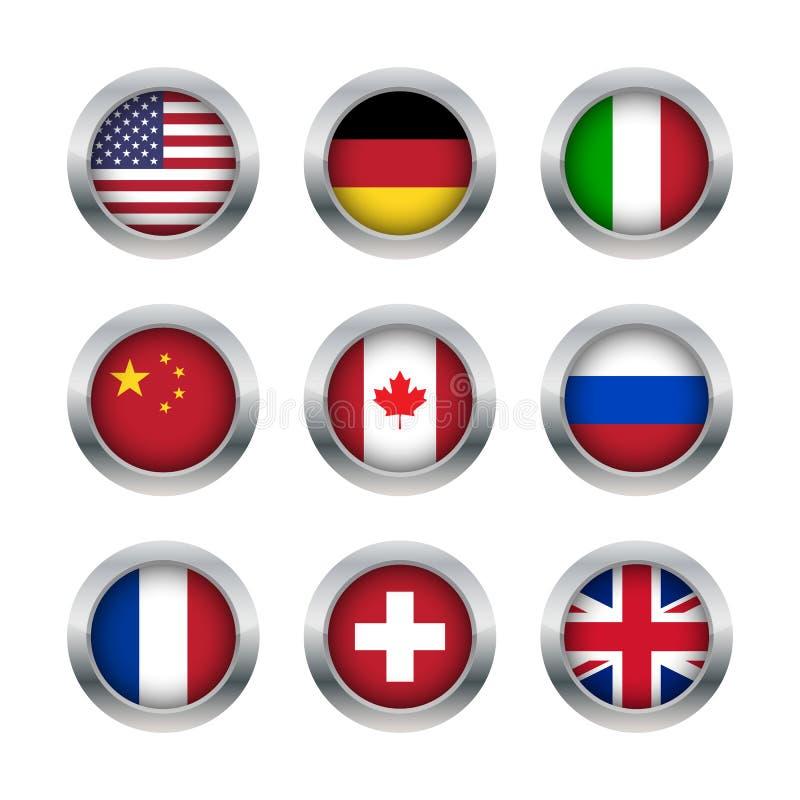 Flaggaknappuppsättning 1 stock illustrationer