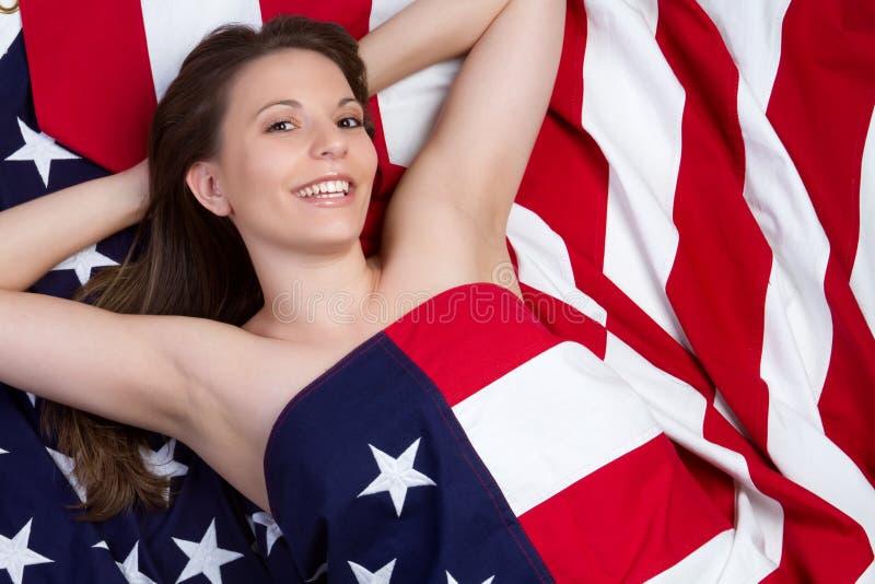 flaggakvinna arkivbilder