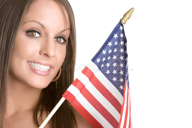 flaggakvinna royaltyfri fotografi