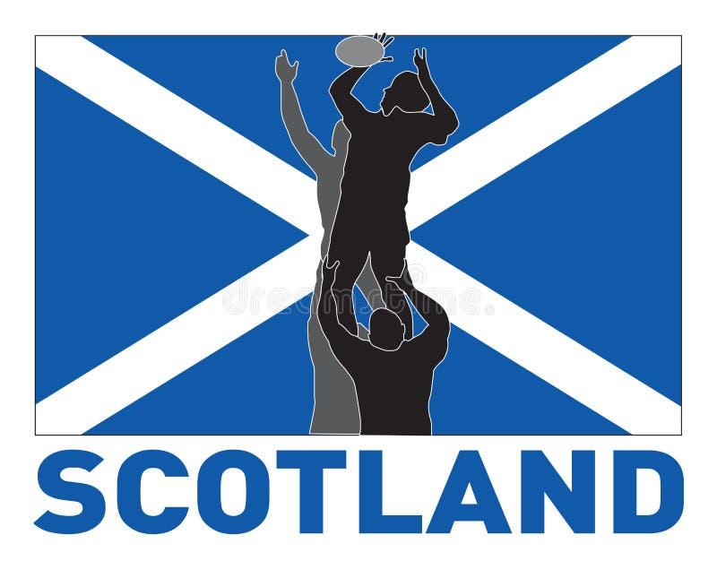 flaggalinje ut rugby scotland vektor illustrationer