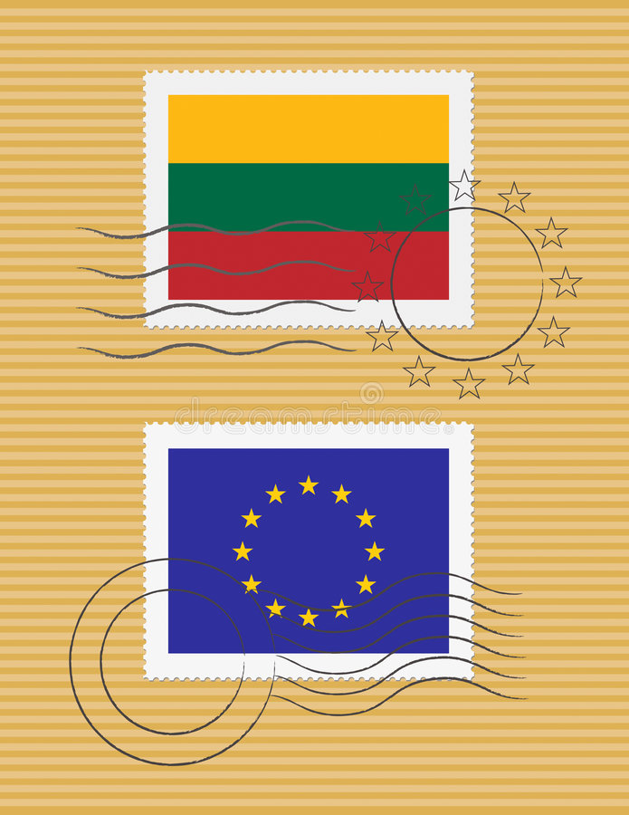 flaggalithuania stämpel stock illustrationer