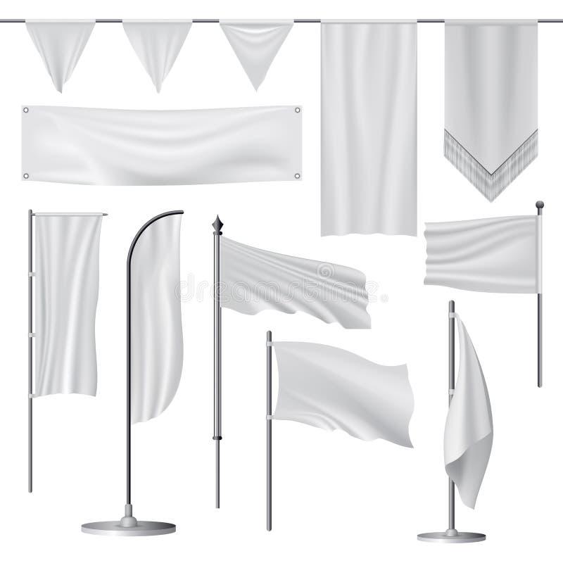 Flaggamodelluppsättning, realistisk stil stock illustrationer