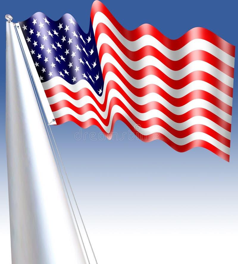 Flaggan av Amerikas förenta stater som ses ofta till som amerikanska flaggan, är nationsflaggan av Förenta staterna vektor illustrationer