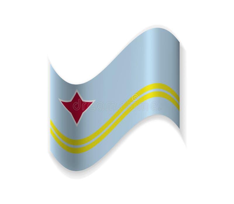 Flaggan av Aruba stock illustrationer