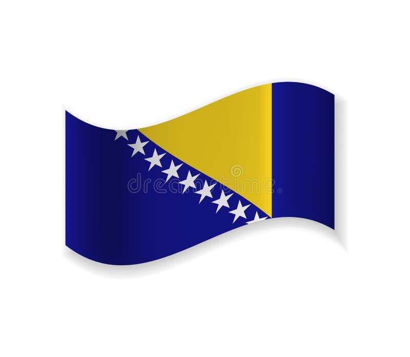 Flaggan av Bosnien och Hercegovina royaltyfri illustrationer
