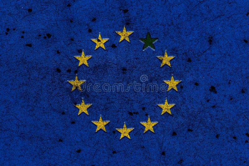 Flaggan av europeisk union med en stjärnasaknad målade på busen Co arkivfoton