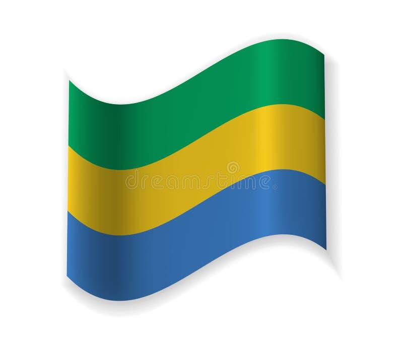 Flaggan av Gabon royaltyfri illustrationer