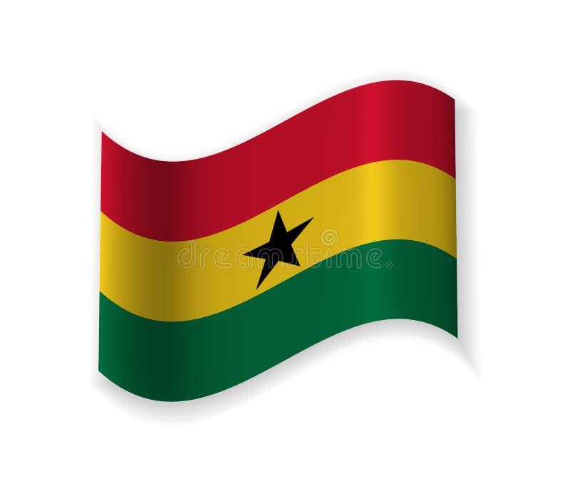 Flaggan av Ghana stock illustrationer