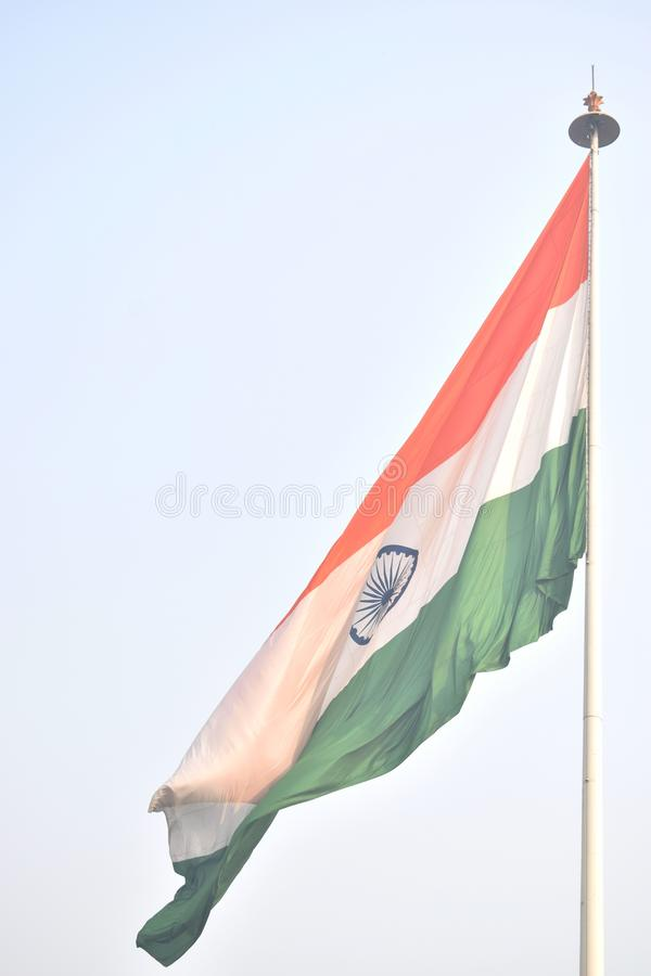 Flaggan av Indien i parkerar av Delhi fotografering för bildbyråer