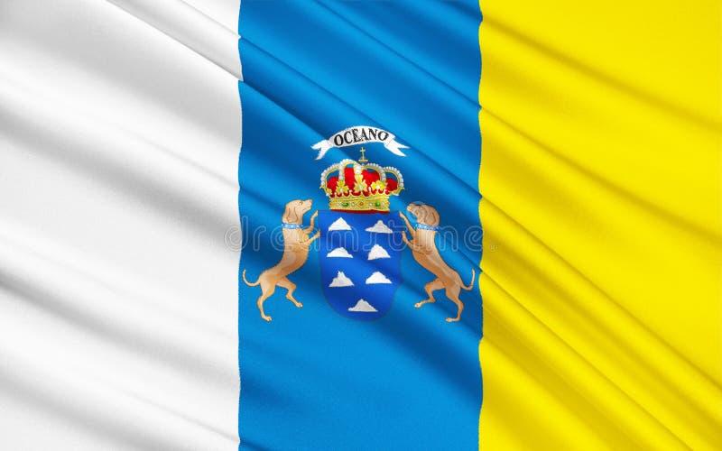 Flaggan av kanariefågelöarna, Spanien royaltyfri illustrationer