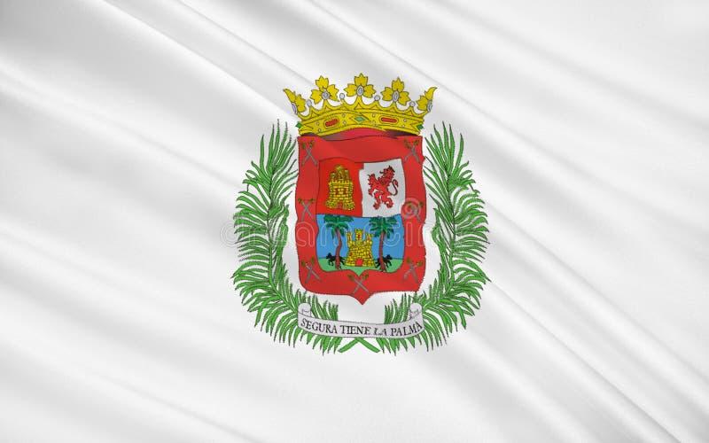 Flaggan av Las Palmas de Gran Canaria är en stad och en huvudstad av Gra stock illustrationer