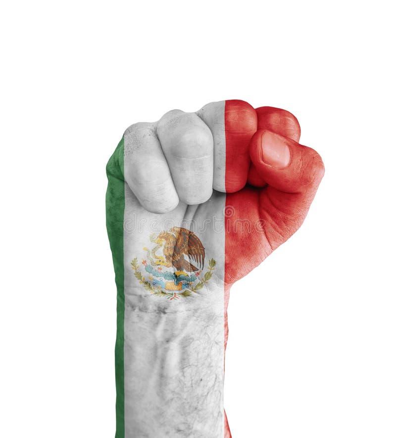 Flaggan av Mexico målade på den mänskliga näven som segersymbol royaltyfri fotografi