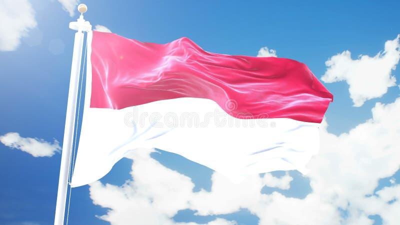 Flaggan av Monaco som vinkar mot Time-schackningsperiod, fördunklar bakgrund vektor illustrationer