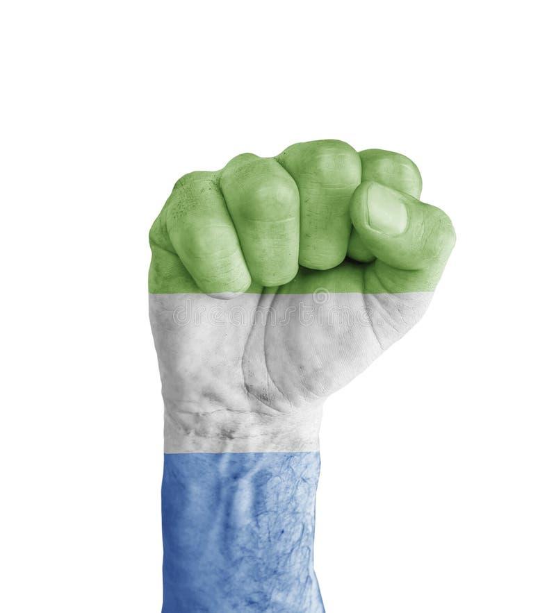 Flaggan av Sierra Leone målade på den mänskliga näven som segersymbol arkivbilder