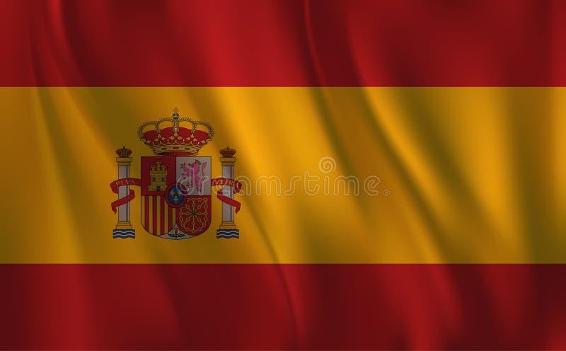 Flaggan av Spanien som vinkar vektor illustrationer