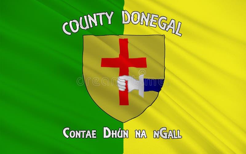 Flaggan av ståndsmässiga Donegal är ett län i Irland royaltyfri illustrationer