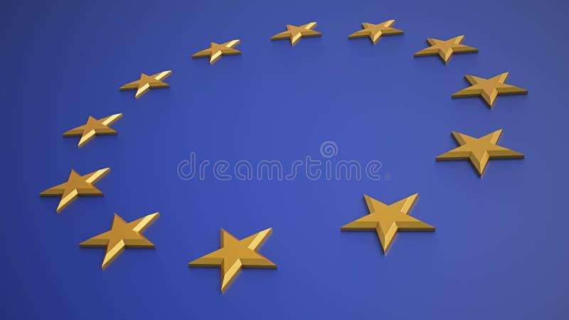 flaggan för eu 3d framför stock illustrationer