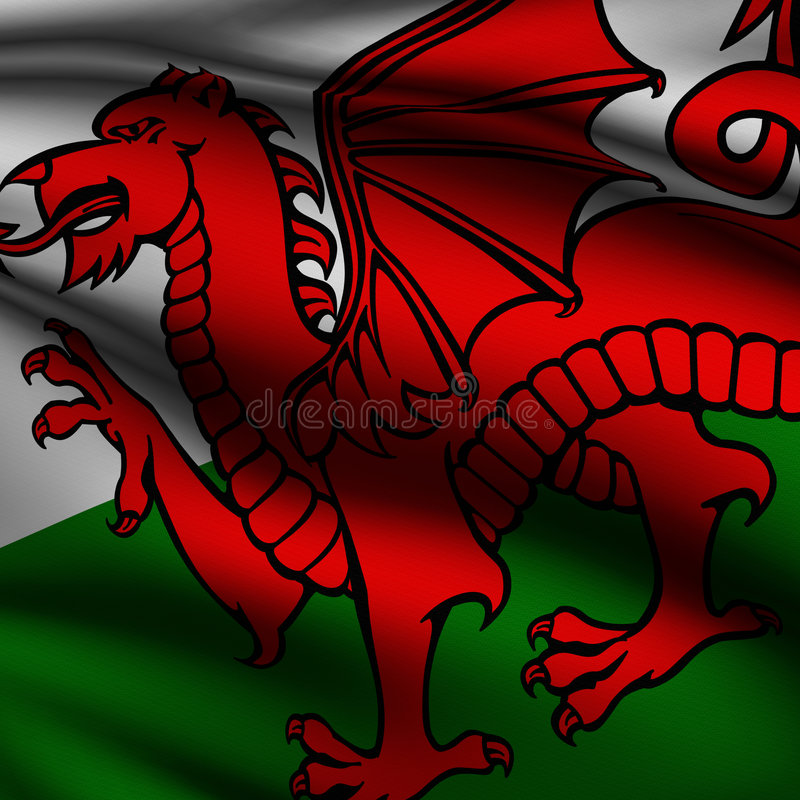 flaggan framförde fyrkantiga welsh royaltyfri illustrationer