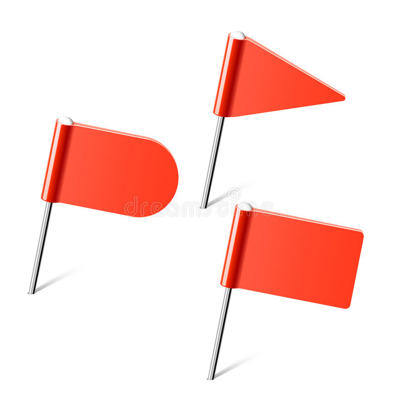 flaggan pins red vektor illustrationer
