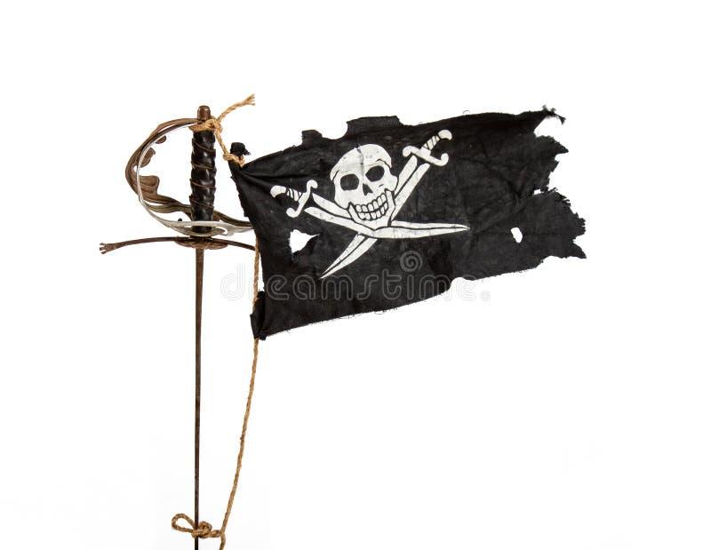 flaggan piratkopierar v?g arkivfoton
