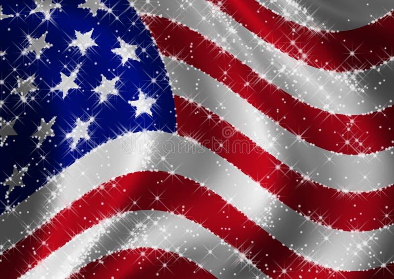 flaggan spangled stjärnan USA stock illustrationer
