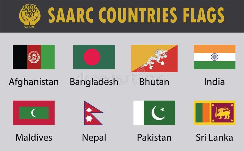 Flaggan ställde in av SAARC-länder royaltyfri illustrationer